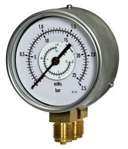 Edelstahl - Doppel - Rohrfedermanometer
