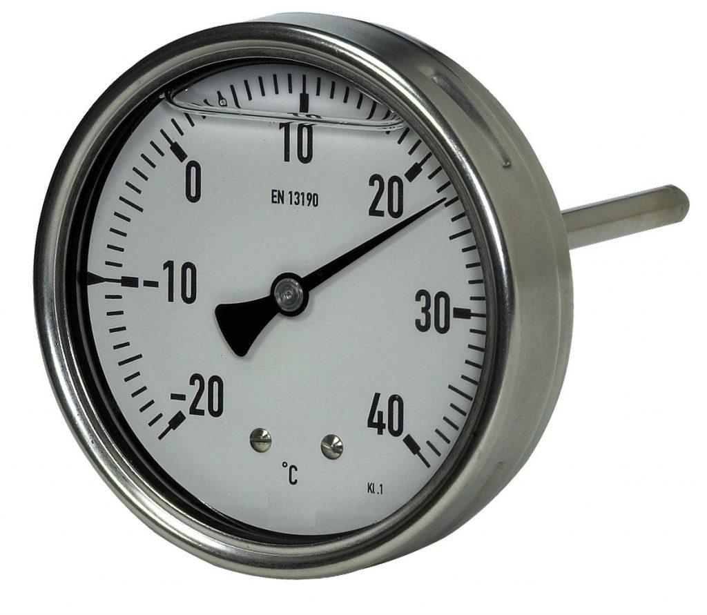 Robust-Bimetallthermometer mit Messfühler, zentrisch nach hinten Industrie-Bimetallthermometer