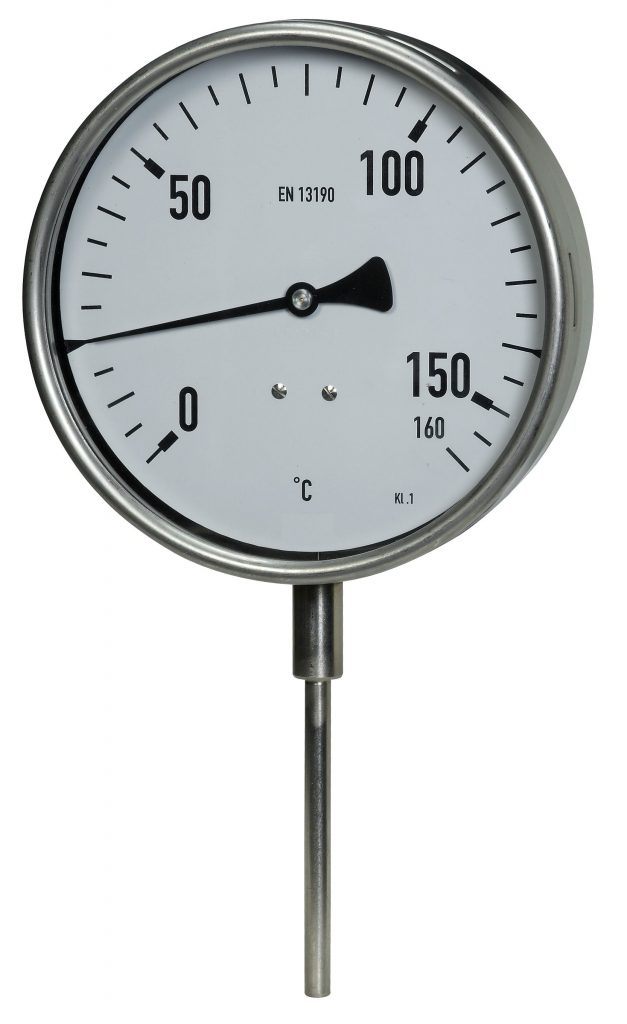 Robust-Bimetallthermometer mit Messfühler, nach unten Industrie-Bimetallthermometer