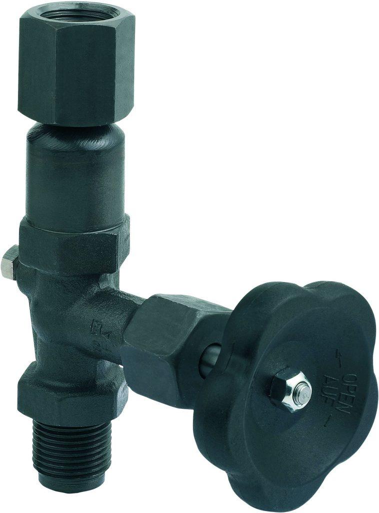Manometerventil ohne Prüfanschluss, bis 400 bar gemäß DIN 16270 Form B, Zapfen/drehbare Muffe, mit Schaft für Messgerätehalter Manometerventile